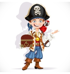 Cute pirate boy with red parrot hold treasure vector