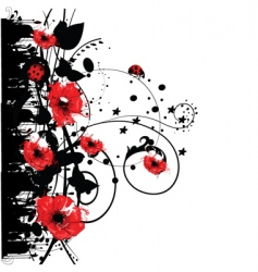 Red poppy grunge vector
