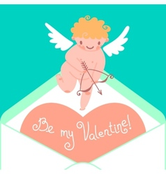 Valentines Day card with cute Cupids and hearts vector image