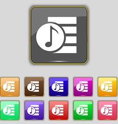 Audio mp3 file icon sign set with eleven colored vector