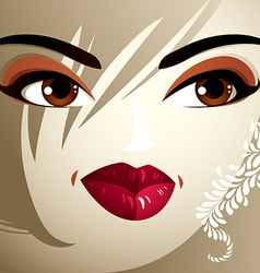 Parts of the face of a young beautiful lady with a vector