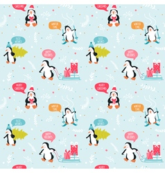 Penguin Christmas Background- Seamless Pattern vector image