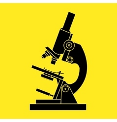 Black microscope icon on a yellow background - vector