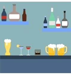 Bar with alcoholic beverages vector