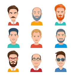 Set of different male faces vector