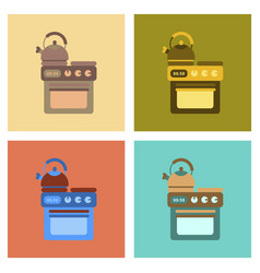 Assembly flat icons coffee kettle stove vector