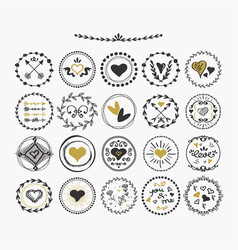 Black and golden hand drawn cute circle hearts vector