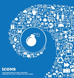 Bomb icon sign nice set of beautiful icons twisted vector
