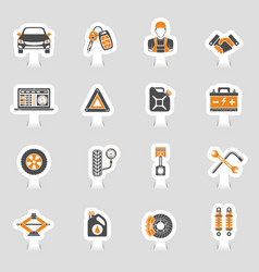 Car service icons sticker set vector