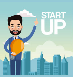 City landscape background closeup businessman with vector
