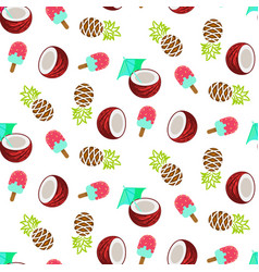 Coconut pineapple and ice cream seamless vector
