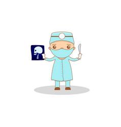 cute cartoon doctor vector image vector image