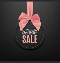 cyber monday sale round banner with pink ribbon vector image vector image