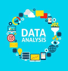 data analysis flat circle vector image
