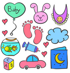 Doodle of baby theme with toys vector