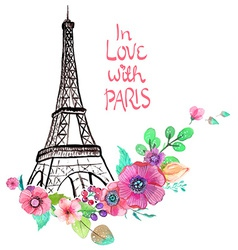 Eiffel tower with watercolor flowers vector image vector image