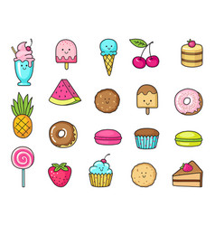 funny icons of sweets fruit and ice cream donuts vector image