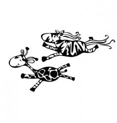 giraffe and zebra run vector image vector image