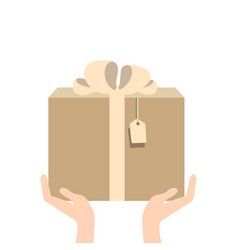 hand giving present in flat style - gift vector image vector image