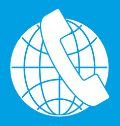 Handset and globe icon white vector