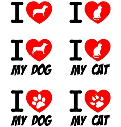 I Love Dog and Cat Signs Collection vector image