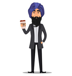Indian business man cartoon character vector