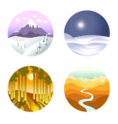 landscape poster of round icons with nature vector image