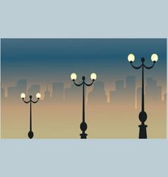 Light street lamp beauty landscape vector