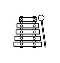 Line marimba music instrument to melody harmony vector