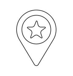 Line search sign with star inside icon vector