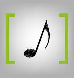 music note sign black scribble icon in vector image