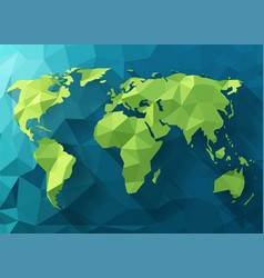 Polygonal world map low poly design origami vector