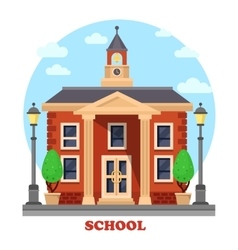 Primary or elementary secondary school with clock vector