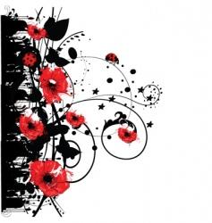 red poppy grunge vector image