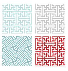 Seamless vintage geometric puzzle pattern vector