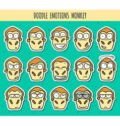 Set 15 doodle sticker heads of monkeys with vector image vector image