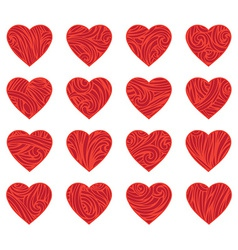 Set of red vintage hearts vector image