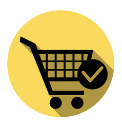 shopping cart with check mark sign flat vector image