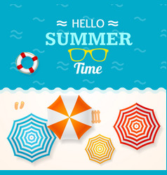 Summer time banner with a beach umbrella vector