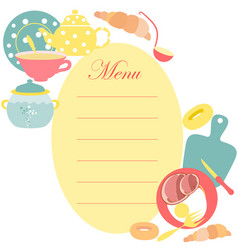 the menu sheet for kitchen vector image