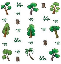 Tree and leaf style doodles vector image