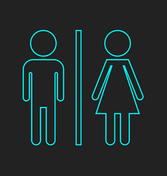 Wc toilet neon icon men and women sign for vector