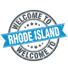 Welcome to rhode island blue round vintage stamp vector