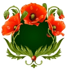 Frame with red poppies vector