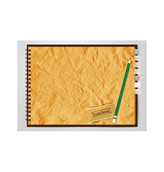 Old brown crumpled paper notebook vector