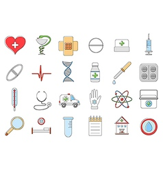 Hospital colorful icons set vector