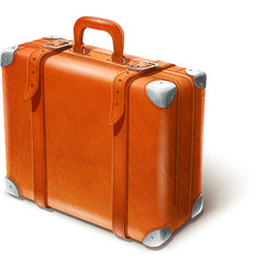 Leather big suitcase vector