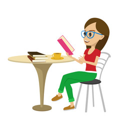Female student reading interesting book at table vector