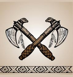 Native american indian tomahawks vector