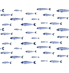 Blue fish shoal seamless pattern vector